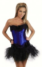 Attractive dark blue chiffon silk Women's Bustier