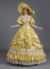 High-end Blue And Yellow Flower Baroque Dress Civil War Ball Gown Reenactment Theatre Costume