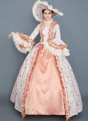 High-end Green And Orange Floral Rococo Southern Belle Marie Antoinette Dress Medieval Reenactment Theater Costume