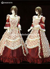 Wine Red Southern Belle Costume Print Palace Victorian Civil War Marie Antoinette Dresses