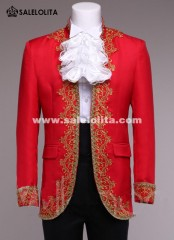 Baroque Prince Costume Black/Red/White European Style Men Vintage Royal Costume Outfit