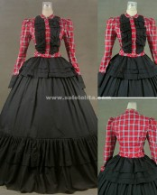 Elegant Casual Black And Pink Glaid Victorian Ball Gown Dresses For Women