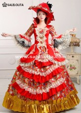 2016 Royal Red Print Medieval Victorian Period Marie Antoinette Masquerade Dresses