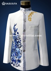 Sequins Stand Collar Men Suit Red/Blue Embroidered Flowers Chinese Tunic Wedding Suits for Men's (Jacket/Pants )