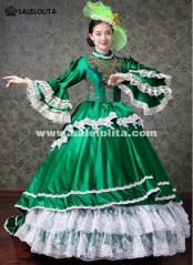 Women Upscale Green Marie Antoinette Masquerade Gown Carnivale Parade Medieval Dresses Costume
