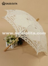 Beautiful Victorian Wedding Bride Lace Umbrella with Solid Wood Handle