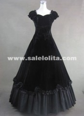 Black Vintage Short Sleeves Square Collar Cotton Halloween Gothic Victorian Dress