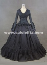2016 Brand New Black Gothic Victorian Gown Civil War Southern Belle Dress