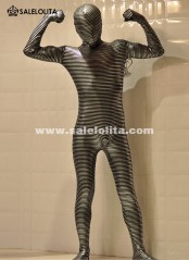 Black And Gold Striped Shiny Metallic Zentai Suit Halloween Full Bodysuit