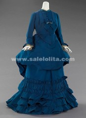 2016 Brand Fashion Blue Long Sleeves Medieval Renaissance Victorian Bustle Ball Gown