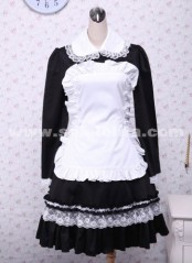 Maidservant Style Black and White Lace Trim Lempicka Cotton Cosplay Lolita Dress