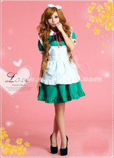 Cute Green And White Knee-Length Bow Barbie Maids Uniform Lolita Dresses For Girl 2018