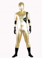 Black And Golden Shiny Metalic Full Body Zentai Suit