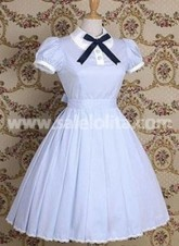 Light Blue Short Sleeves Lace Bow Cotton Classic Lolita Dress