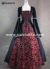 Medieval Renaissance Victorian Fair Queen Velvet Red Floral Print Brocade Ball Gown Dress Theatrical Costume