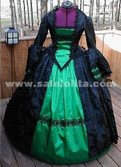 Long sleeved green mopping civil war era ball gown