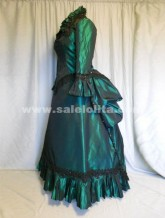 Brand New Green Elegant Full Sleeve And Square Collar Victorian Bustle Ball Gown 2016
