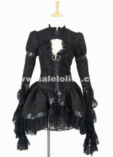 2016 New Elegant Black Retro Palace Lace Flare Sleeve Gothic Steampunk Lolita Dress