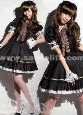 2018 Hot Sale Sweet Princess Black Short Sleeves Lace And Bow Maid Barbie Lolita Dress Costumes For Women