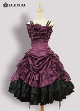 Purple Sleeveless Strapless Victorian Gothic Lolita Dress