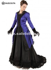 Blue And Black Southern Belle Civil War Victorian Bustle Dress For Women