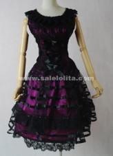 Cotton Black And Purple Sleeveless Bow Multi layer Casual Lolita Dress