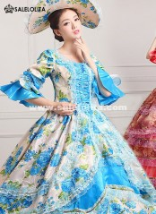2016 Vintage Print Marie Antoinette Dress 18th Century Party Dress Ten Colors