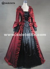 Plus Size Wine Red and Black Marie Antoinette Masked Ball Gothic Victorian Dresses