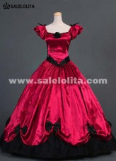 2016 Noble Red Short Sleeve Bow Renaissance Gothic Victorian Ball Gowns