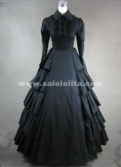Black collar long sleeved Gothic Vitoria long dress