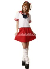 Top Fashion Cheap Red and White School Lolita Suit