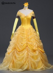High Quality Adult Yellow Belle Cosplay Dresses Women Moive Beauty and the Beast Cosplay Princess Costume