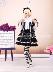 Black and White Mixed Cotton Elegant Stand Collar Bow Gothic Lolita Dress For Lady
