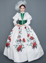 White Floral Rococo Marie Antoinette Dress Vintage Rococo Photography Clothing Reenactment Costume