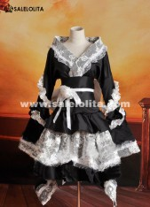 2019 High Quality Black And White Lace Lolita Kimono Ladies Maid Cosplay Dress