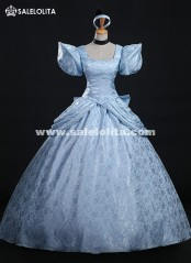 High Quality Disney Cinderella Costume Brocade Printed Princess Cinderella Dress For Women