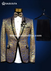Elegant Gold Sequins Men Fashion Suits Jacket Brand Plus Size Medieval Prince Nightclub Slim Blazer Suits