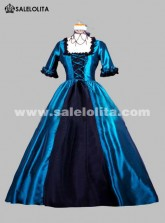 2018 Noble Blue And Black Short Sleeves Square Collar Renaissance Victorian Ball Gowns