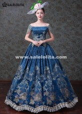 Gothic Victorian Blue Print Gowns Medieval Wedding Dress