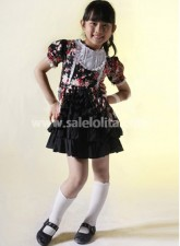 Black Floral Short Sleeves Cotton Kids Lolita Dress