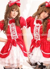 Sweet Princess Red And Black Short Sleeves Maid Barbie Lolita Dress Costumes For Women