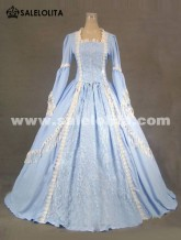 2016 Elegant Light Blue Long Sleeve Lace 17th 18th Century Renaissance Victorian Ball Gowns