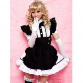 Black and White Cap Sleeves Buttons Mini Cotton Lolita Dress