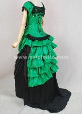 Brand New Green And Black Medieval Renaissance Long Sleeve Victorian Bustle Ball Gown
