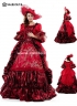 High-end Red Floral Marie Antoinette Wedding Dress 17th 18th Century Medieval Hepburn Retro Victorian Wedding Dress
