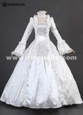 2015 Noble White Long Flare Sleeve Lace Renaissance Civil War Victorian Ball Gown Womens Party Dress Costumes