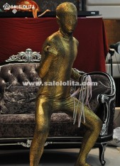 Gold Copper Shiny Metaillic Bodysuit Cosplay Clothes Skin Suit Halloween Costume