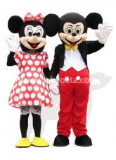 Cool Mickey and Minnie Mascot Cartoon Disney Costume Fluffy Plush Costume