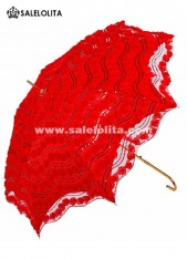 Elegant Wedding Bride Bridesmaid Red Lolita Lace Parasol