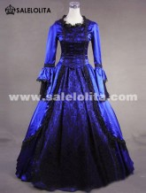 2018 Noble Blue Long Flare Sleeve Lace 18th Century Renaissance Victorian Ball Gowns